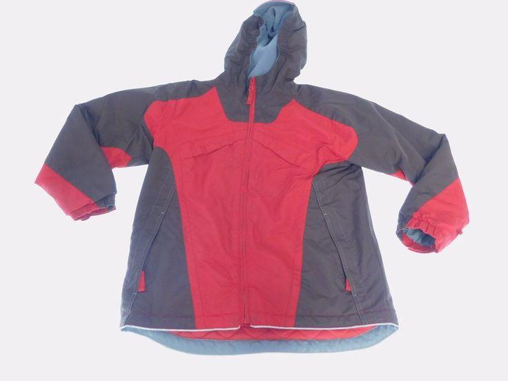 Lands' End Youth Boys Winter Jacket Medium Red/Brown Long Sleeve Hoodie  #LandsEnd