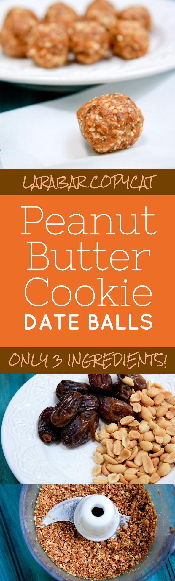 LARABAR Copycat Peanut Butter Cookie Date Balls: These are the perfect snack for a little late-afternoon pick-me-up. They also have just the right amount of carbs, fat, protein and calories to be a good pre-workout snack.  5 minute prep time and only 3 ingredients! Easy, Healthy & So Delicious (one of my most favorite recipes!)  Back To Her Roots