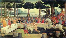 The Decameron -The Banquet in the Pine Forest (1482/3) is the third painting in Sandro Botticelli's series The Story of Nastagio degli Onesti, which illustrates events from the Eighth Story of the Fifth Day.