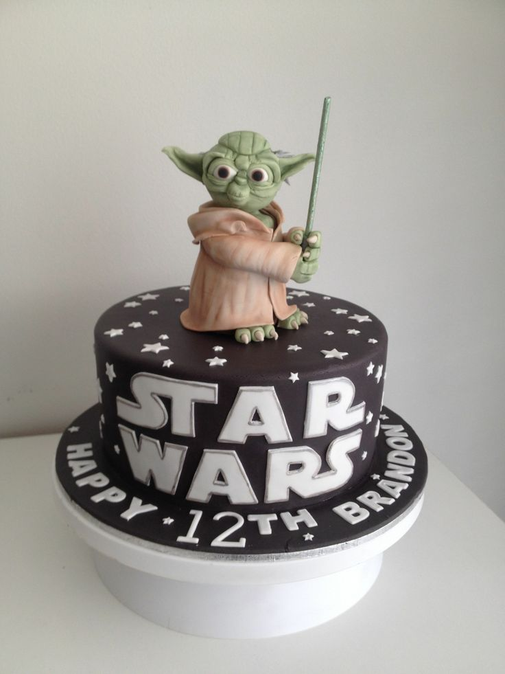 - Star Wars Themed Cake.  Yoda is made from rice krispie treats, decorated with gum paste