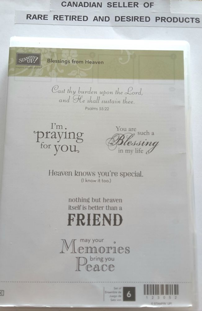 BLESSINGS FROM HEAVEN. Stampin Up 6 pc Clear mount Rubber Stamp Set. Psalm 55:22 | Crafts, Stamping & Embossing, Stamps | eBay!