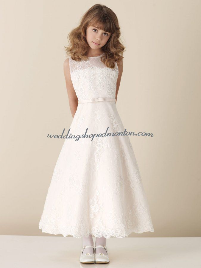 A line bateau ankle length satin organza flower girl for Cheap wedding dresses edmonton