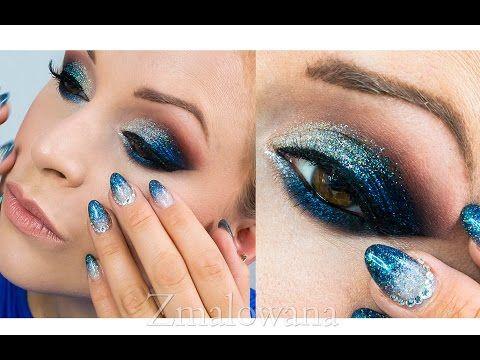 • Makijaż Sylwestrowy 2014 - ombre, brokat , kreska • Zmalowana • - YouTube