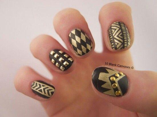Gold sharpie nail art