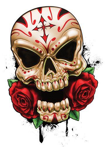 Cross With Roses Skull Temporary Tattoos - Skull Mix Tattoos