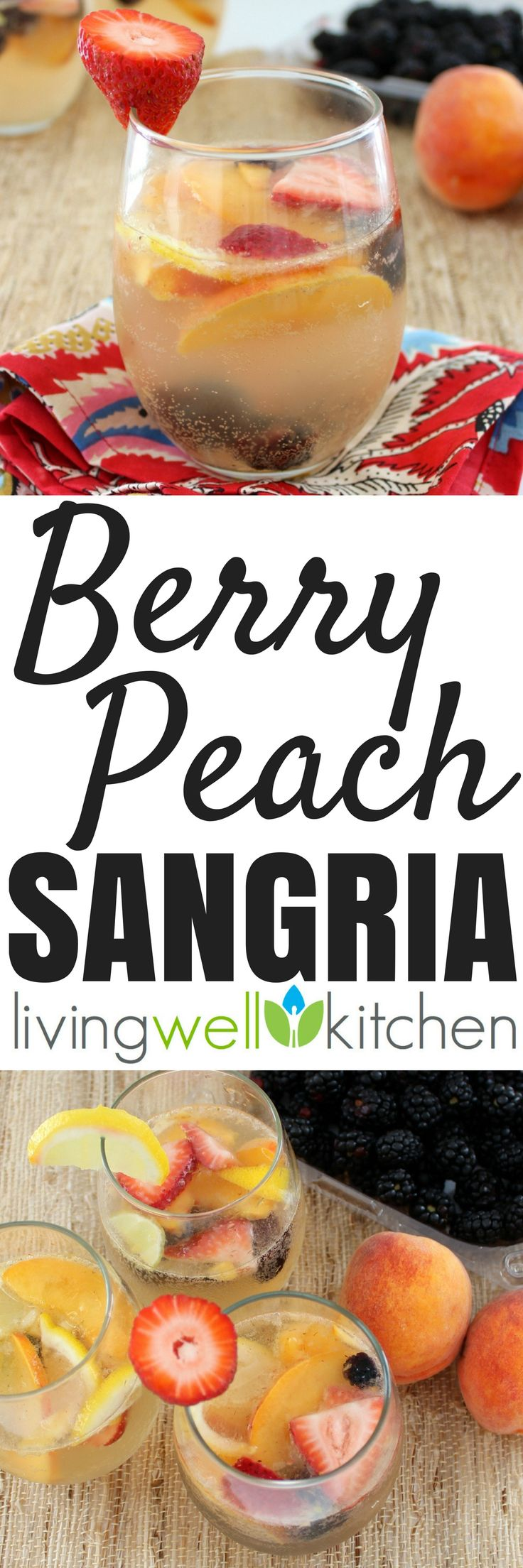 Berry Peach Sangria from @memeinge is full of summery fruit and made with white wine to make it a refreshingly perfect adult beverage idea for warm weather with no added sugar. Great drink recipe to make for a party or a fun summer event