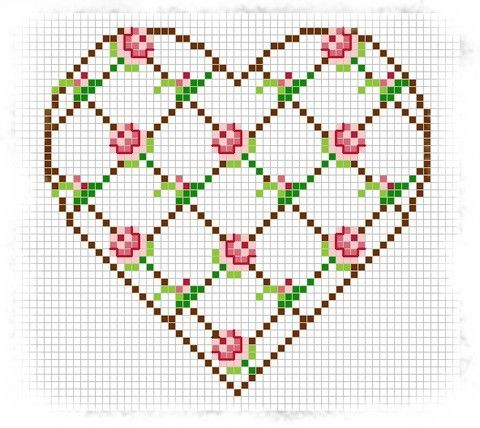 Cross-stitch Rose Trellis Heart.... no color chart, just use pattern chart colors as your guide.. or choose your own colors...