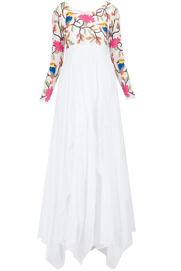 White multi colour embroiderd floor length gown available only at Pernia's Pop-Up Shop.