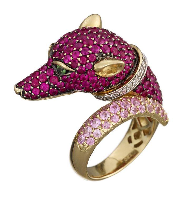 A ruby, pink sapphire, diamond, green garnet and eighteen karat gold ring…