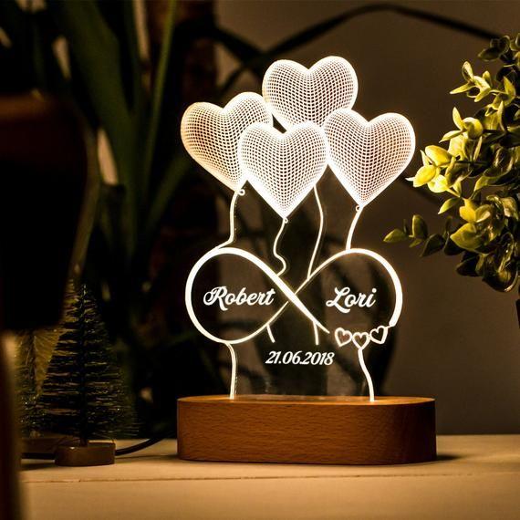 Personalisierte 3d Illusion Lampe Geschenk Fur Sie Etsy In 2020 3d Illusion Lamp Valentine Gifts 3d Night Light
