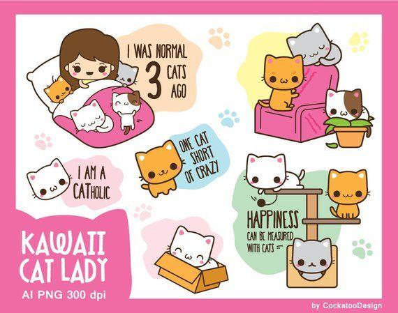 Kawaii cat clipart, cute cat clip art, kawaii cat lady ...