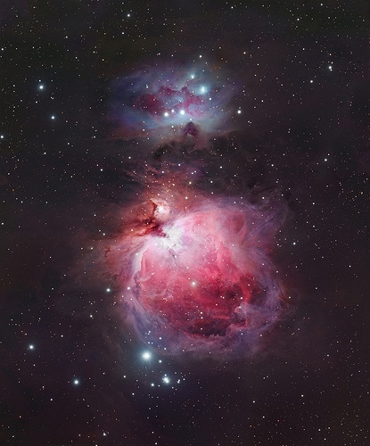 At a distance of 1,400 light-years, the Orion Nebula is the nearest brightest nebula and the only nebula visible to unaided eye.