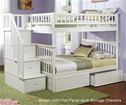 Atlantic Furniture White Full over Full Staircase Bunk Bed Kids Bedroom Furniture columbia bunk beds with stairs and stairway