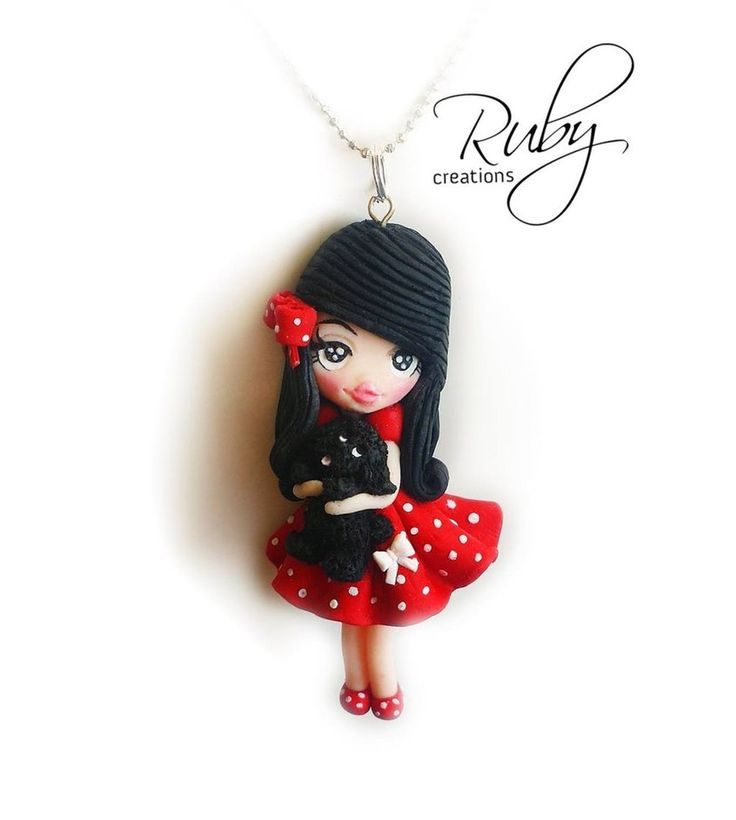 Ruby doll with a black puppy, polymer clay by Ruby-creations.deviantart.com on @DeviantArt