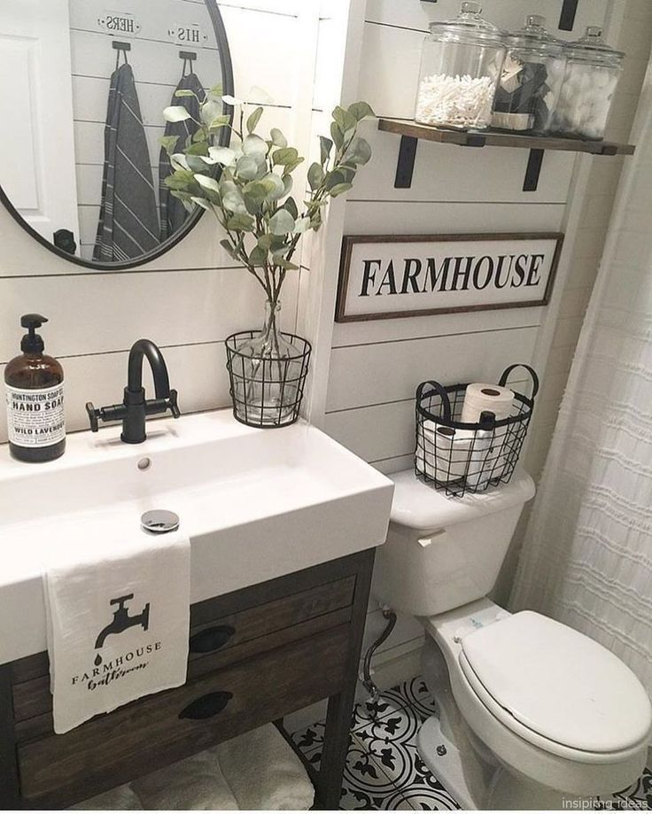47 Romantic Farmhouse Bathroom Vanity Ideas Modern Farmhouse Bathroom Farmhouse Bathroom Vanity Small Bathroom Remodel