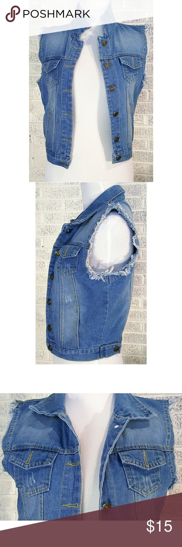 Hengsheng Distressed Sleeveless Denim Jacket Hengsheng Distressed Cut Off Sleeveless Denim Jacket  Women's/Juniors Size Small  Measurements on Request New without Tags  Gift Quality  Thanks We Ship Fast  Updating New Items Daily Hengsheng Jackets & Coats Jean Jackets