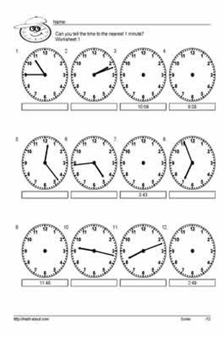 10 Worksheets for Telling Time to the Nearest 5 Minutes: Worksheet