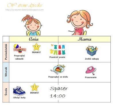 W stronę dziecka: Zabawa w planowanie obowiązków - PLANER do wydrukowania