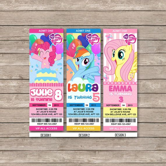 My little pony Birthday Invitations / Birthday Party card - Digital Printable File -- Movie Party idea