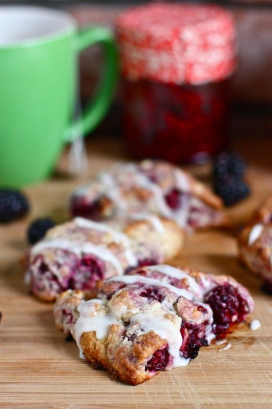 Mini Blackberry Scones: this is the best scone recipe I have ever made. I crammed tons of extra blackberries into the dough and thought it would fall apart, but it held together after baking. This recipe only makes a few scones, which was perfect for my family. These were all eaten up within 30 minutes