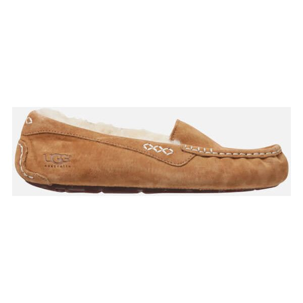 UGG Women's Ansley Moccasin Suede Slippers - Chestnut (3.160 UYU) ❤ liked on Polyvore featuring shoes, slippers and tan