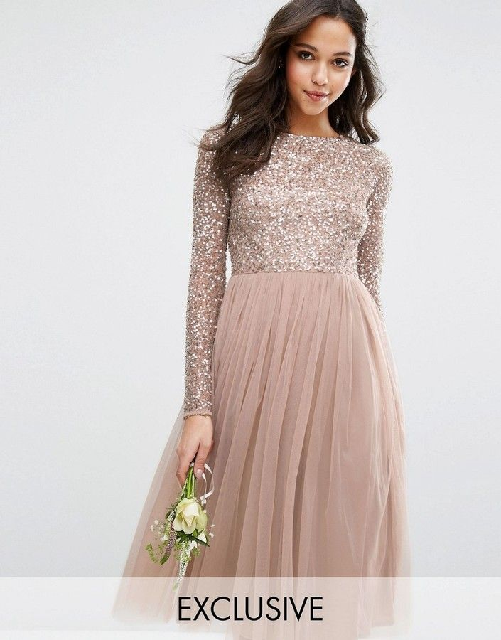 Maya Long Sleeved Midi Dress with Delicate Sequin and Tulle Skirt