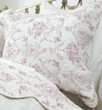 www.gardsromantik.se - Överkast quilt gammalrosa toilemönster rosor 2 storlekar shabby chic lantlig stil