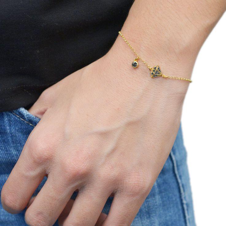 Diamond Bracelet Sterling Silver 925,Rose Gold Bracelet,Yellow Gold Bracelet,Tiny Diamond Shape,Birthday Gift,Bridesmaid Gift,Mom Gift by AmorAmorSilver on Etsy