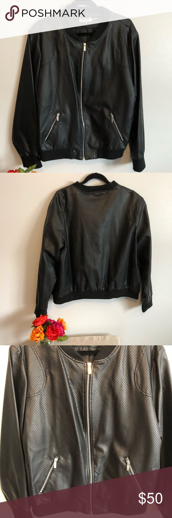 NWOT Calvin Klein Black Bomber Jacket Awesome Jacket!  Never worn! Front and back are patterned and sleeves are solid!  Size 2X, chest 24.5, sleeve 30, length 25 inches Calvin Klein Jackets & Coats Utility Jackets