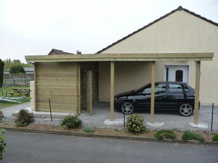 23 best abri de jardin images on pinterest chalets garage and terrace - Carport avec abri de jardin ...