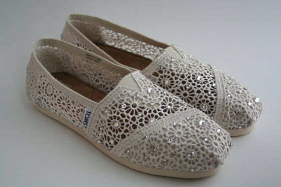Toms Wedding Shoes, Crochet Classics in Blue, Lilac, Lemon, Navy or Mint with Swarovski Crystals via Etsy - Picmia