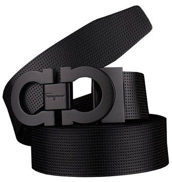 Proea Men's Smooth Leather buckle belt 35mm Black Buckle and Black Leather up to 42in