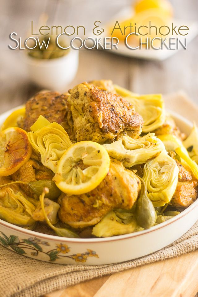 Lemon Artichoke Slow Cooker Chicken | thehealthyfoodie.com