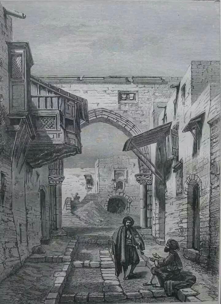 Ξυλογραφία 1862.Οδος Ιπποτών