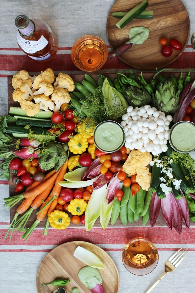 I don't think I need to tell you that this crudités platter is a showstopper. What is less obvious is how incredible this green vegan dip is. The recipe is actually a riff on the tofu sauce from one of my favorite vegetarian restaurants The Green Temple in Redondo Beach. The dressing can be used