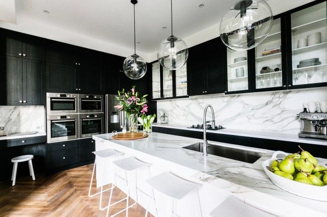black kitchen - white island- marble