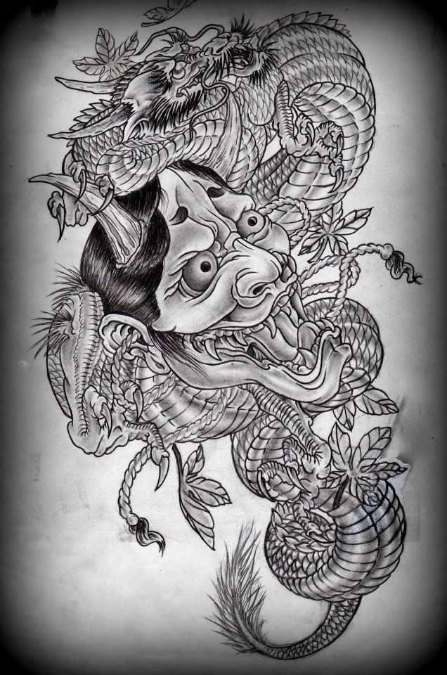hannya and dragon tattoo design on deviantart tattoo ideas pinterest dragon tattoo designs. Black Bedroom Furniture Sets. Home Design Ideas