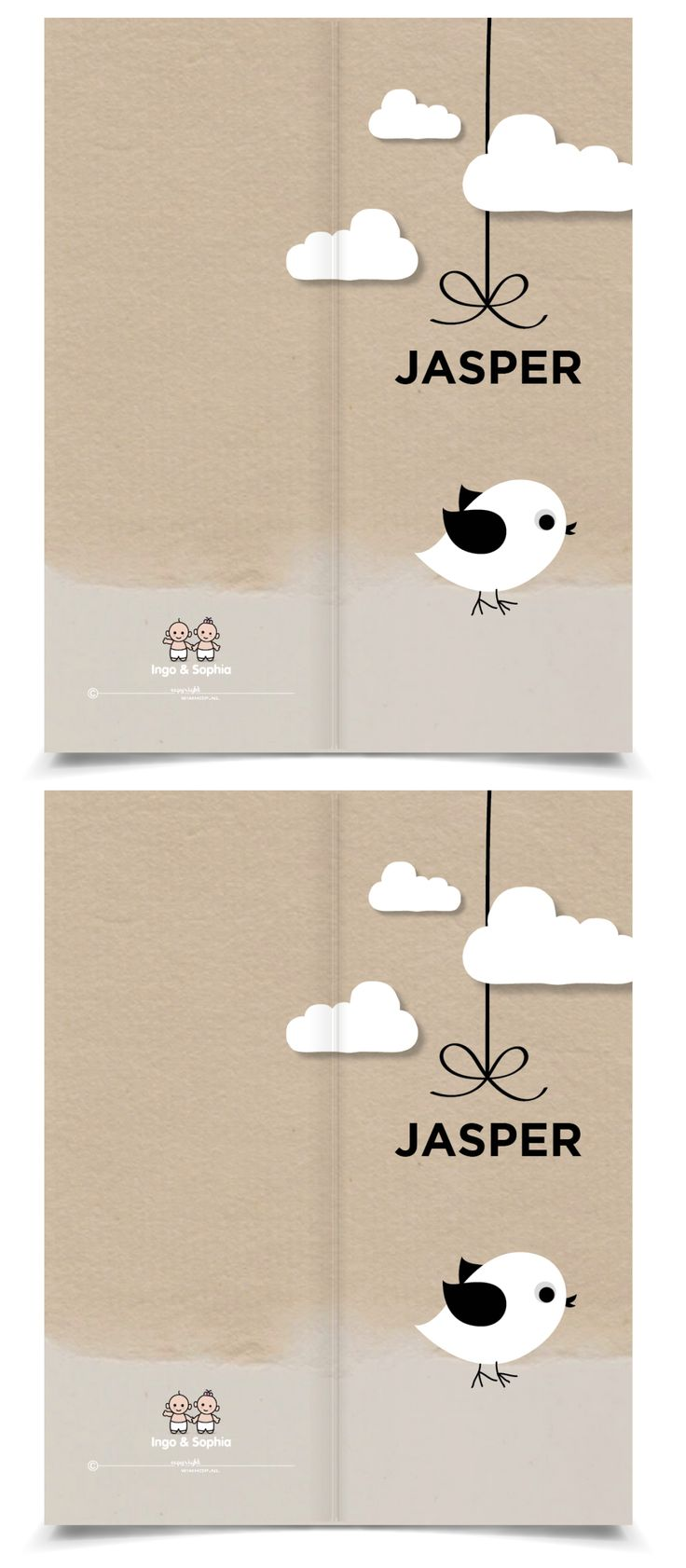 Birth Announcement Card with sweet bird and bowtie, for an boy or girl. Lief geboortekaartje met vogeltje en strikje voor jongen of meisje | JutenJul Design