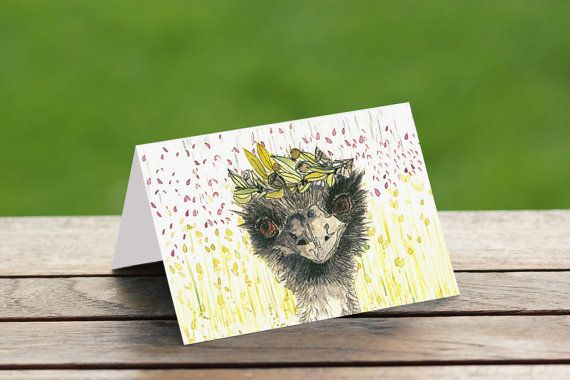 Greeting Cards Australia  Emu Queen of Scrubbly Doo by PaperJamink