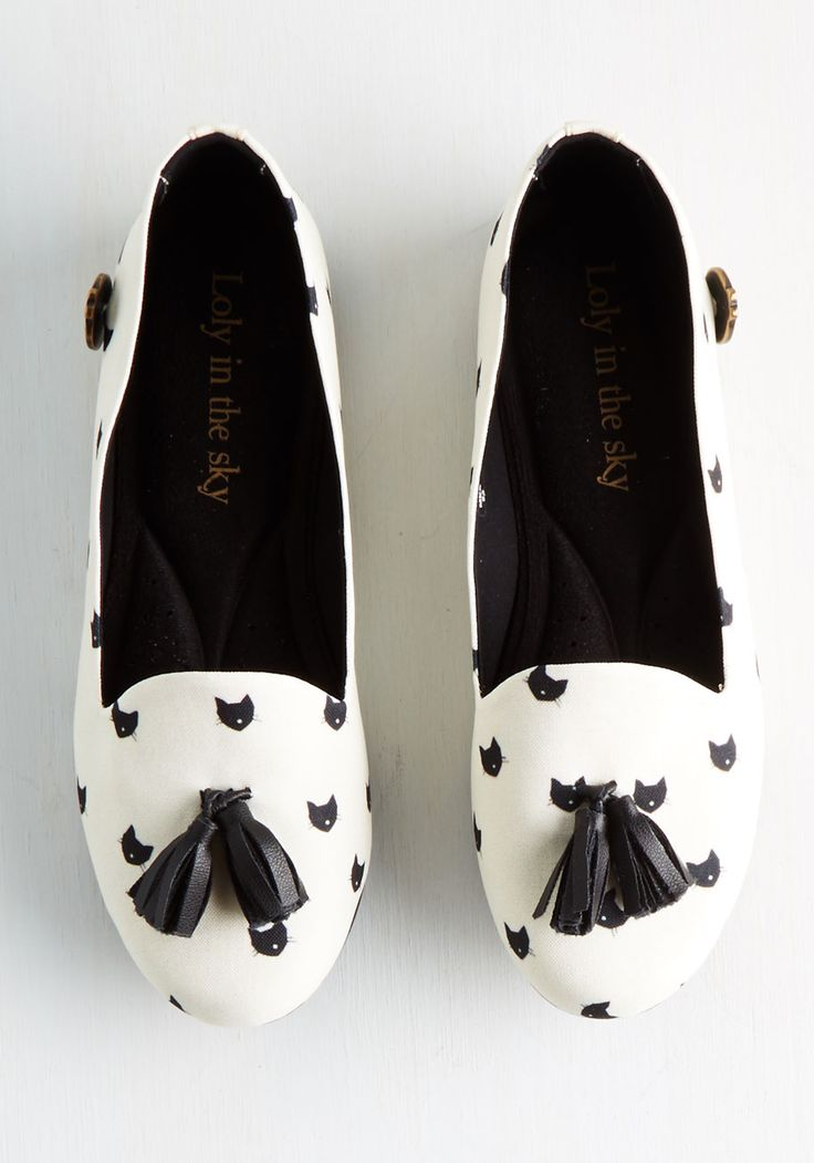 This Magic Mew-ment Flat. Get whiskered away in these quirky loafers by Loly in the Sky and your paws will thank you! #white #modcloth