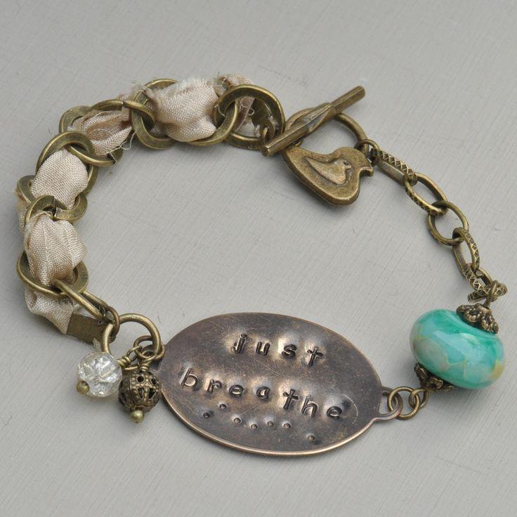 Just Breathe Vintaj Hand Stamped Bracelet with Lampwork Bead & Sari Silk Ribbon, Vintaj Bracelet, OOAK Bracelet, Ribbon Bracelet, UK Seller by MidnightStarDesigns on Etsy https://www.etsy.com/listing/170620463/just-breathe-vintaj-hand-stamped