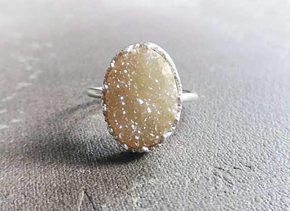 Peach druzy ring sterling silver ring with peach oval by Lovender, $42.00