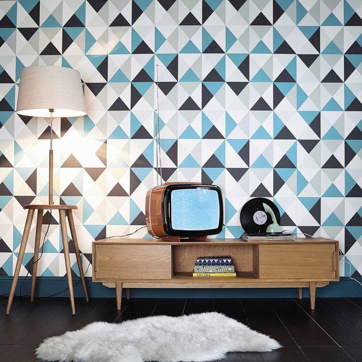 Meuble TV en chêne massif L 160 cm Portobello   Maisons du Monde