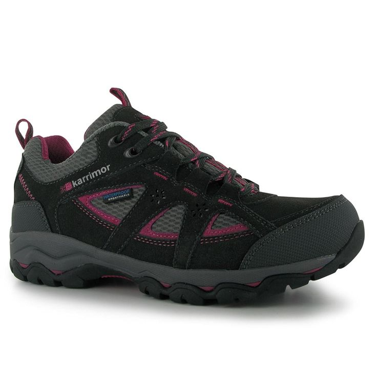 Karrimor Womens Mount Low Ladies Walking Shoes Waterproof Lace Up Hiking  Black/Pink 7.5 (
