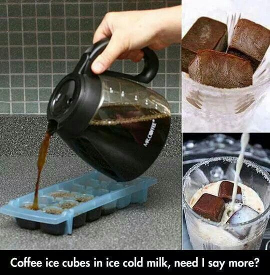 Coffee ice cubes. Smartest summer idea ever! I wanna try in Chai