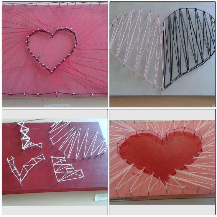 Plank met spijkers en wol opdracht beeldende vorming / handvaardigheid