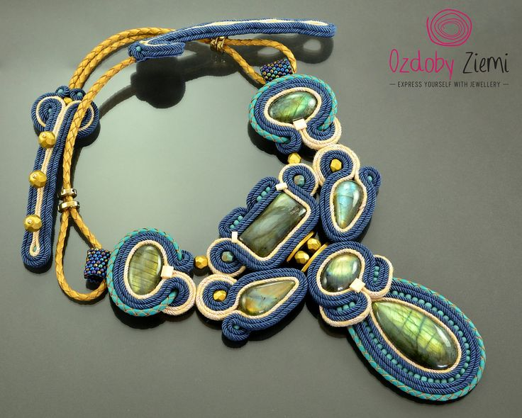 Navy blue labradorite soutache necklace Landan big gemstone gold beige labradorte handcrafted collar unique blue necklace statement Necklace by OzdobyZiemi on Etsy