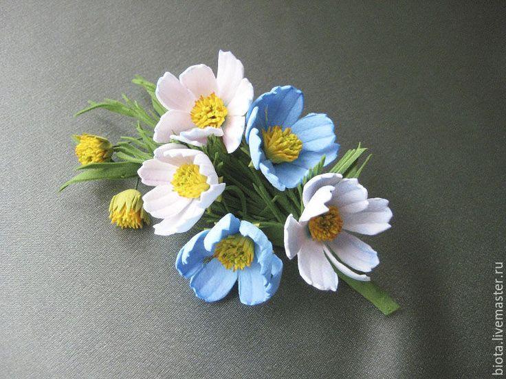 Купить Голубая космея-2. Цветы из фоамирана - голубой, бело-голубой, брошь-букетик