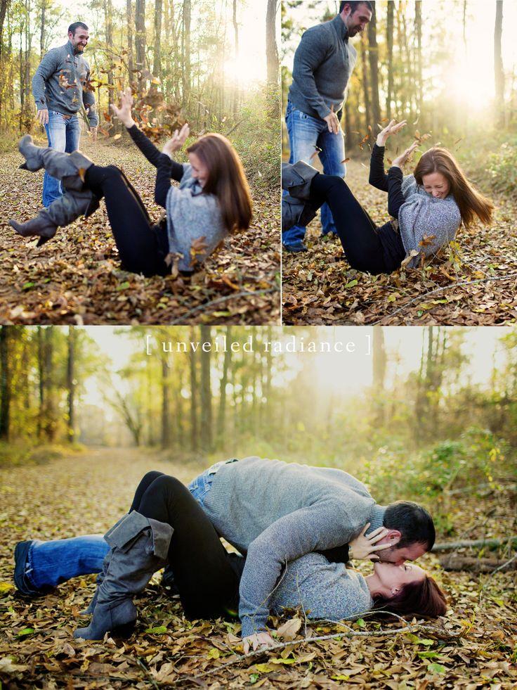 Leaf Fight Engagements Louisiana Engagements Fall Engagement Couple posing