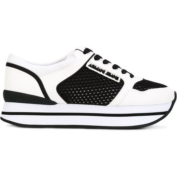 Armani Jeans panelled sneakers (860 ILS) ❤ liked on Polyvore featuring shoes, sneakers, white, armani jeans trainers, armani jeans sneakers, armani jeans, armani jeans shoes and white shoes
